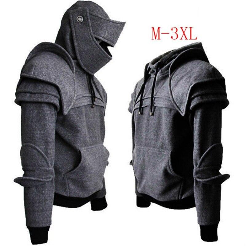 Cosplay Medieval Vintage Guerrero soldado Caballero máscara armadura rodilla suéter Top chaqueta hombres Otoño Invierno sombrero romano Sudadera con capucha