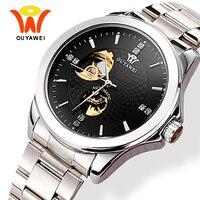 גברים של שלד אוטומטי עצמי מתפתל שעונים גברים Ouyawei אופנה קלאסי כסף אוטומטי מכאני שעון יד Horloges Manne