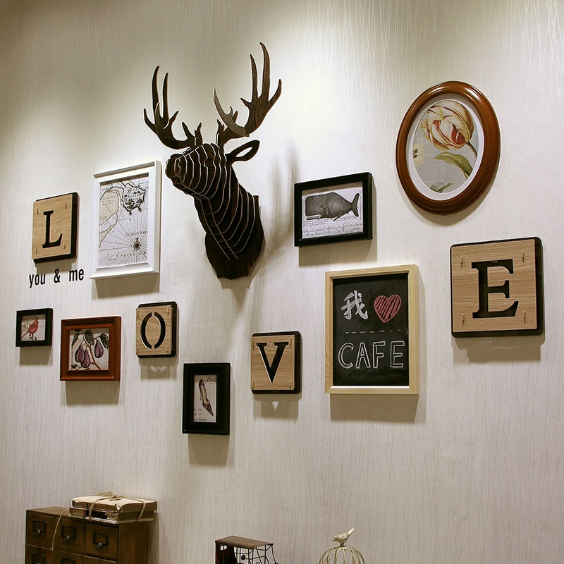 Adornos para cabeza de animales de reno, woody DIY, mural creativo de cabeza colgante, alce, Cabeza colgando, cabeza de animal, entrada de pared