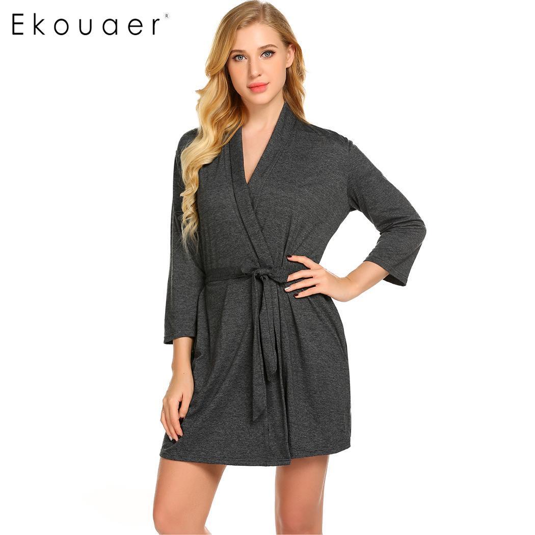 Ekouaer mujer ropa de dormir bata Sexy batas de noche vestido de apósito de algodón Kimono Albornoz Spa batas camisón de mujer