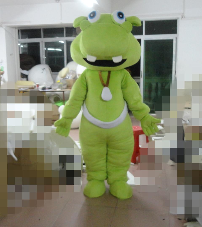 Disfraz de mascota hipopótamo verde para adultos para fiesta de Halloween