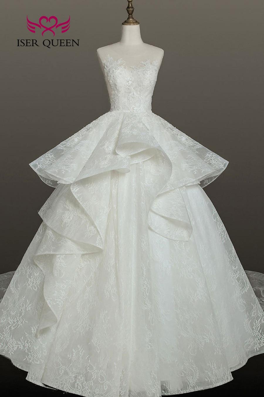 New Arrival Beautiful Ball Gown Lace Wedding Dress Organza Dubai Wedding Gown Bride Dress Vestido De Noiva WX0159