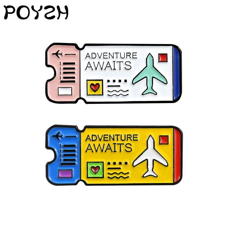 Broche azul rosa de dos colores para billete de avión, símbolo del explorador de viajes, Pin esmaltado para solapa, sombrero de mochila, insignia, regalos de joyería