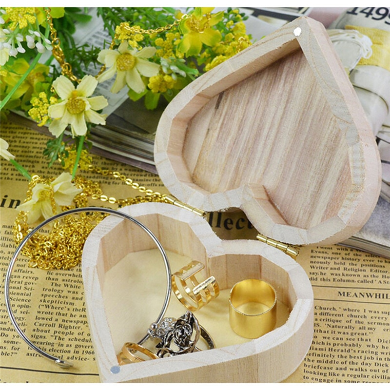 Storage Boxes Heart Shape Wood Box Wedding Gift Home Storage Bin Earrings Ring Box Jewelry Box