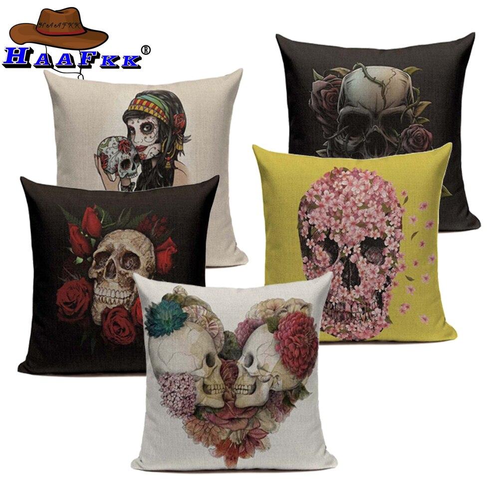 Vintage Mexican Skull Cushion Covers For Sofa Home Decor Summer Style Black Throw Pillow Cases Cotton Linen Fundas De Cojines