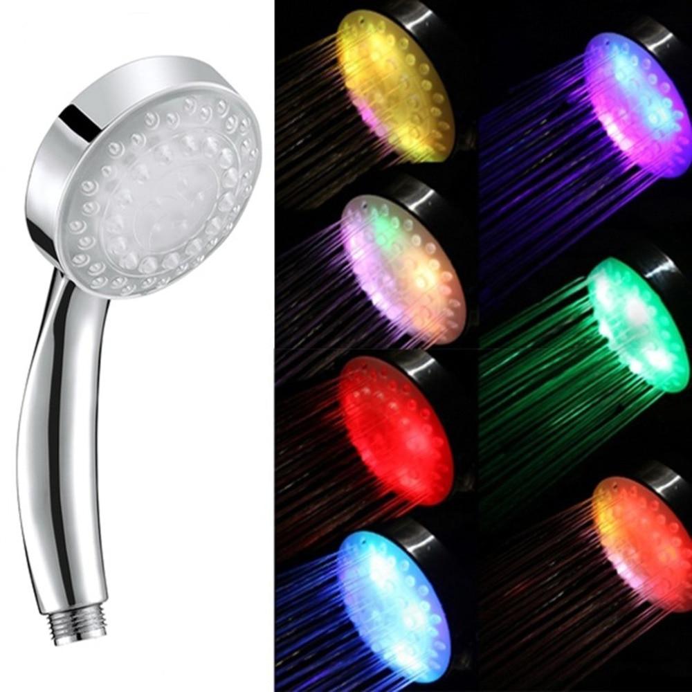 7 cambio de Color LED cabeza de ducha de mano única ronda de las precipitaciones de ahorro de agua boquilla de RC-9816 accesorios de baño