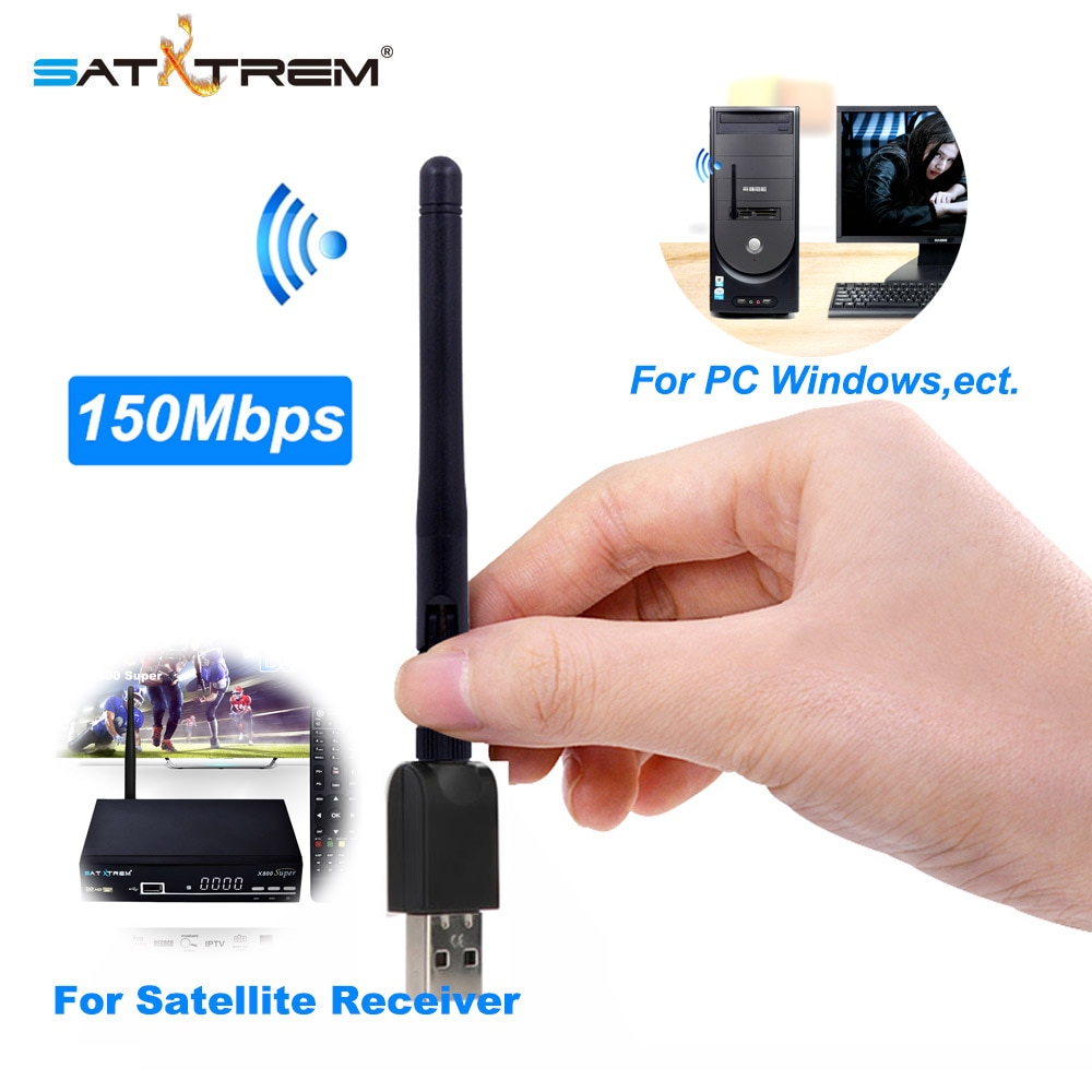 SATXTREM-Adaptador de wifi USB MT7601, con chip, WiFi, receptor inalámbrico de 150M, 802.11n/g/b LAN con antena para decodificador DVB-S2 y DVB T2