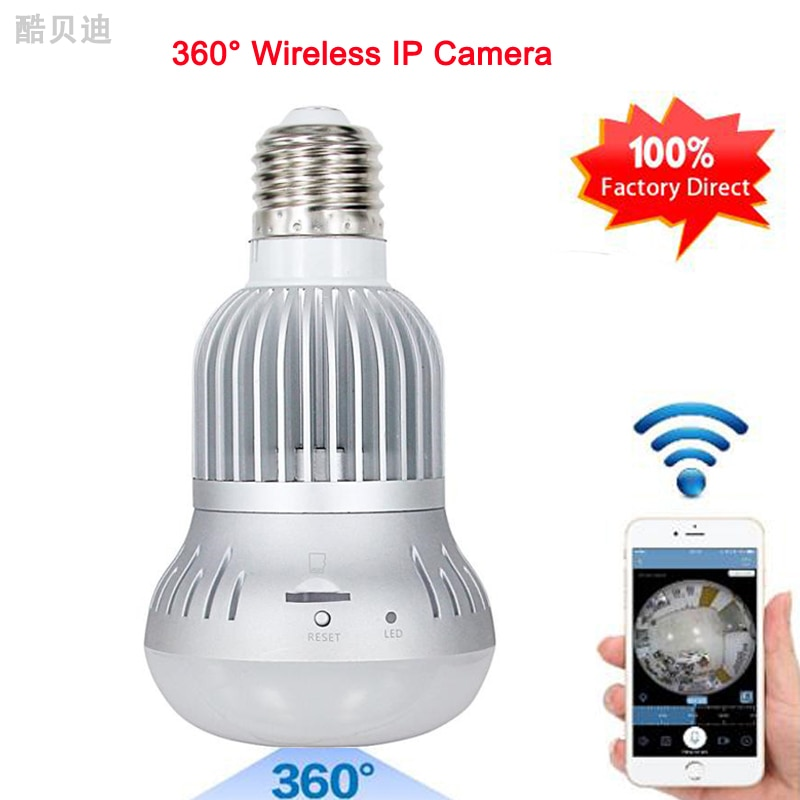 Olho de Peixe de alta Qualidade Lâmpada de Luz Da Câmera IP Sem Fio Wi-fi Câmera HD 960 P 360 Graus Da Câmera 1.3MP Casa de Segurança Do Bebê Monitor de