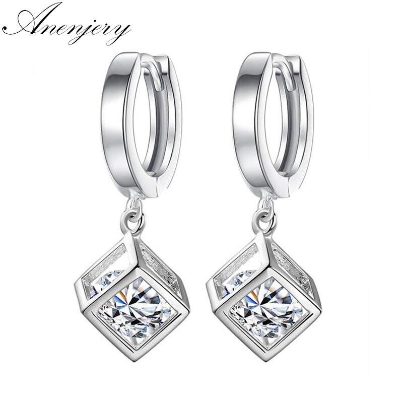 ANENJERY 925 пробы серебро кубические циркониевые серьги с квадратной подвеской для Для женщин brincos, можно носить с свадебный подарок ювелирные изделия S-E228