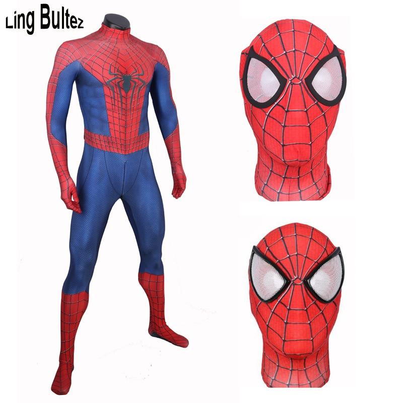 Nuevo traje de Spiderman con cremallera en la entrepierna de Ling Bultez, increíble traje de Spiderman para adultos para Halloween, increíble disfraz con estampado 3D de Spiderman
