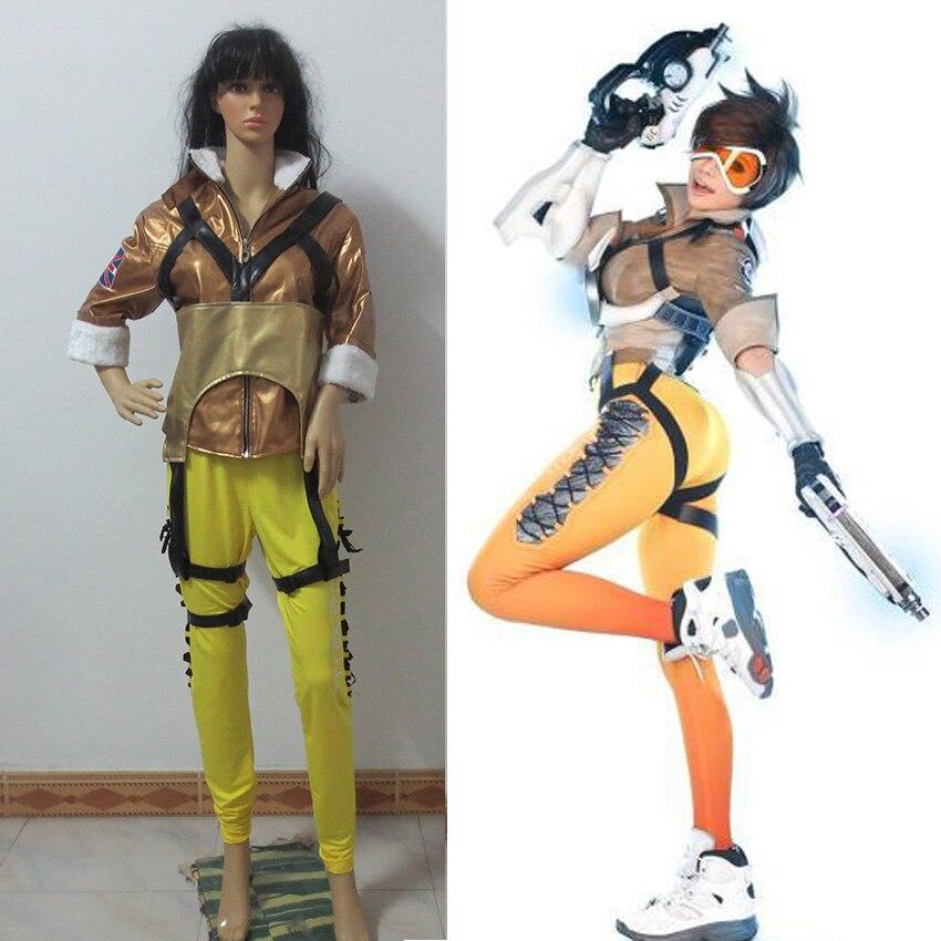 OW Tracer Lena Oxton Cosplay Anime Custom Made Uniforme
