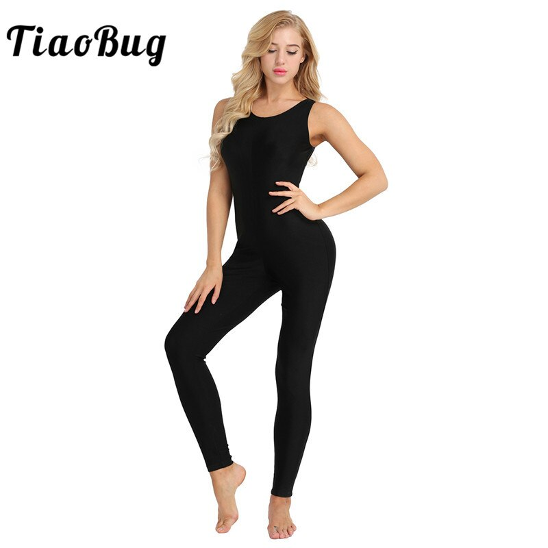TiaoBug Frauen Sleeveless Stretchy Unitard Yoga Tanz Body Erwachsene Gymnastik Trikot Sport Overall Ballett Praxis Dancewear