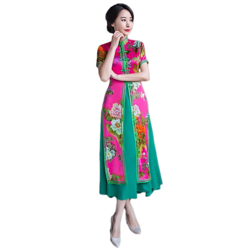 De alta Qualidade Novo Verão Twinset Senhoras Vietnã Dai ao Longo dress chinês cheong reformadora-sam dresse longa m l xl xxl XXXL
