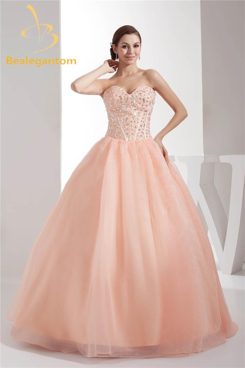 Bealegantom 2019 vestido De baile De tul encantador Vestidos De quinceañera con cuentas dulces 16 Vestidos De 15 Anos QA1055