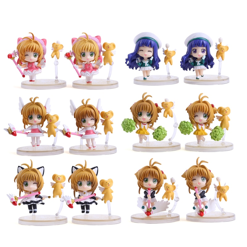 Sakura Cardcaptor Mini figuras de PVC de Kinomoto Sakura Daidouji Tomoyo de figuras de acción juguetes de 6 unids/set CSFG001