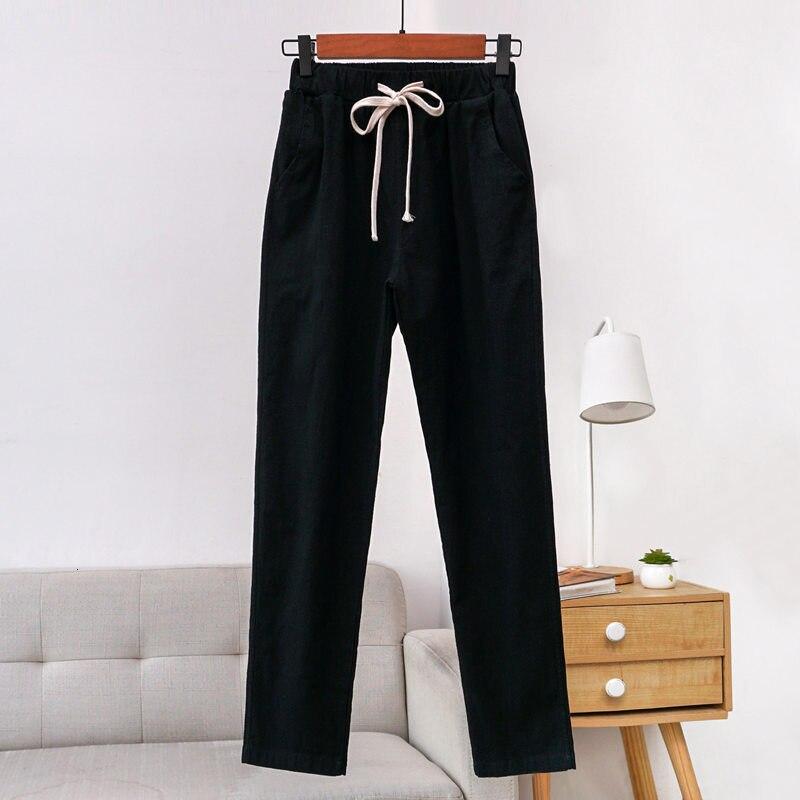 Pants Woman 2019 New Women Casual Spring Autumn Solid Elastic Waist Trousers Cotton Linen Harem Pantalon Femme