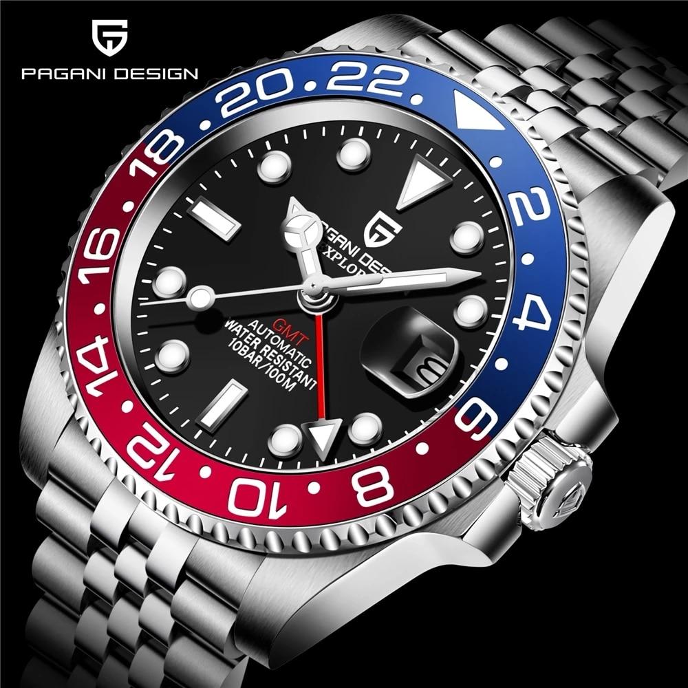 Relógio de Pulso Pagani Design Marca Superior Relógio Mecânico Reloj Hombre Automático Aço Inoxidável Gmt Luxo
