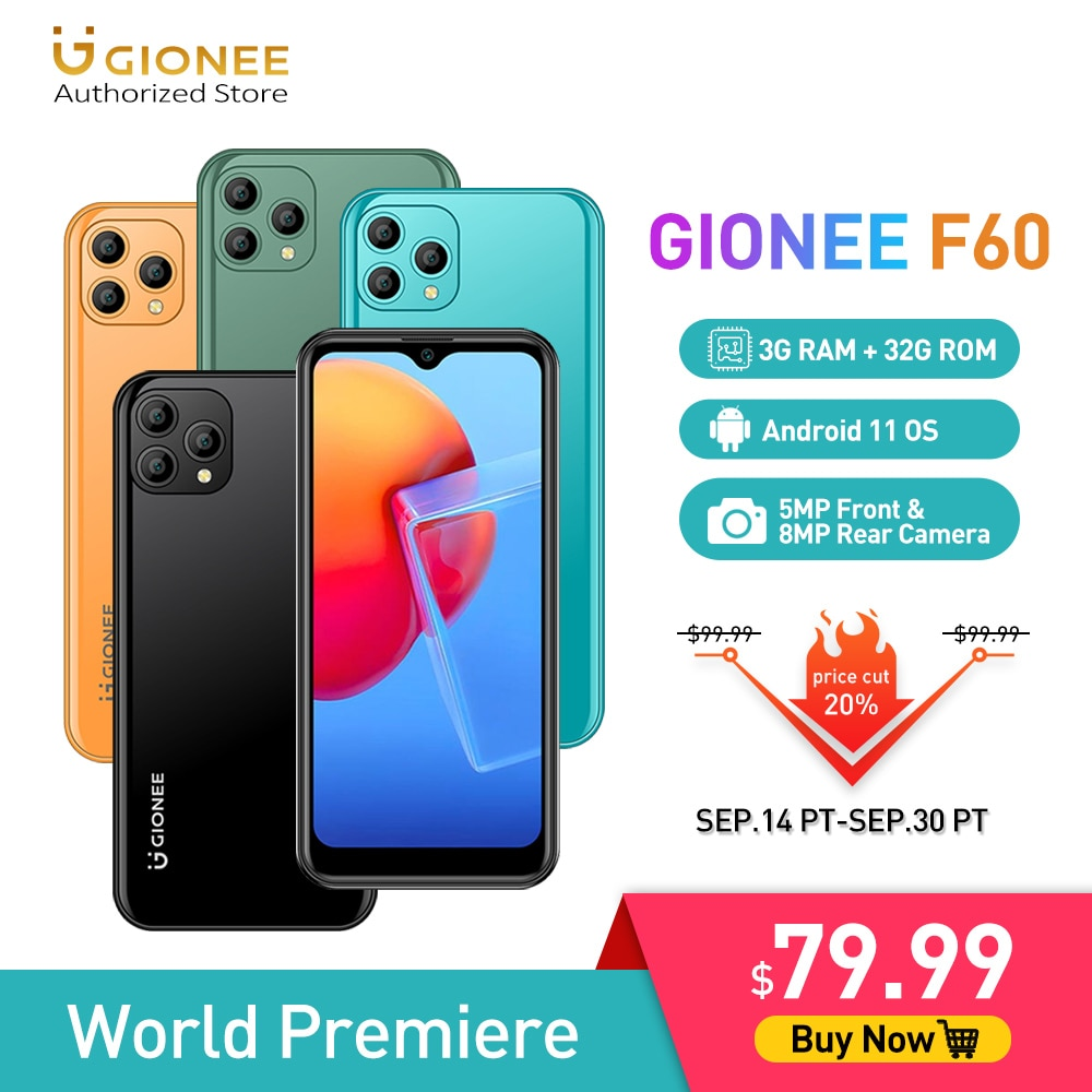 [World Premiere]GIONEE F60 Android 11 Mobile Phone 3G 32G Quad Core Smartphones 6.088