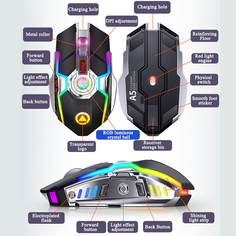 Wireless Mouse Rechargeable 2.4G Silent Gaming Mouse 1600 DPI 7 Buttons LED Backlight USB Optical Computer Mouse For PC/Laptop