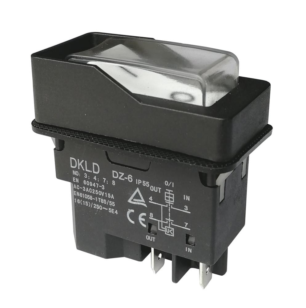 DKLD DZ-6 220 فولت مقاوم للماء الكهرومغناطيسية مفتاح بـزر دفع ل فرع التقطيع 15A 4-Pins IP55 ، أبيض