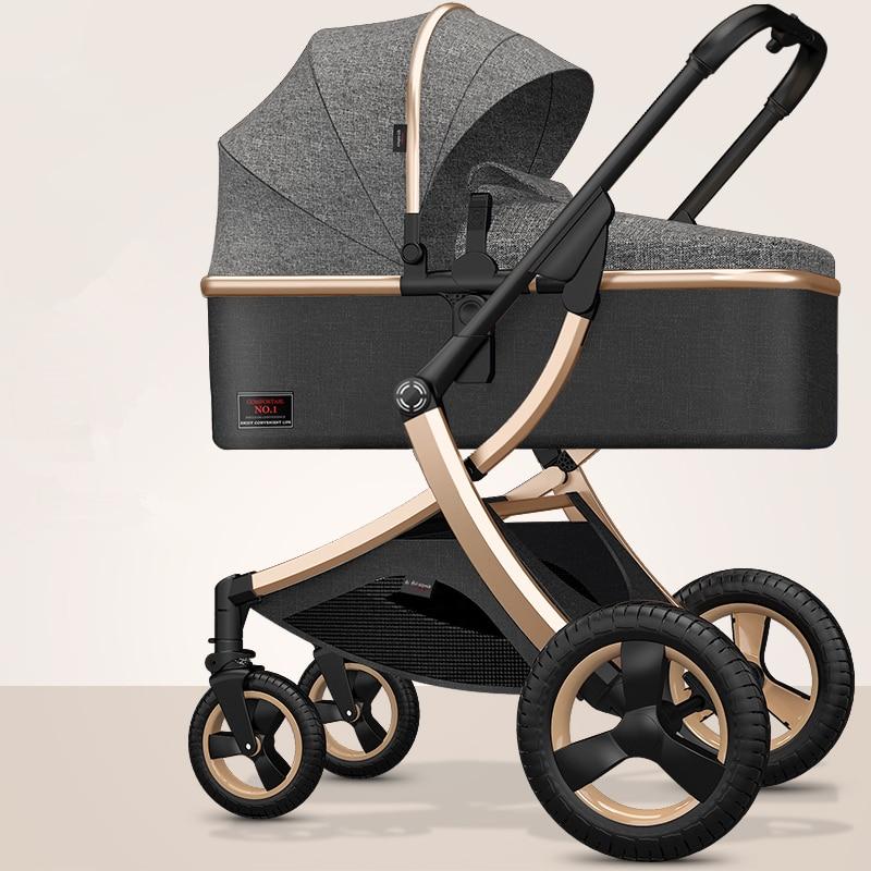 Cochecito de bebé de lujo ajustable 3 en 1 de 8,9Kg, cochecito de lujo portátil de paisaje alto, cochecito Rosa caliente para mamá, cochecito de viaje, cochecito