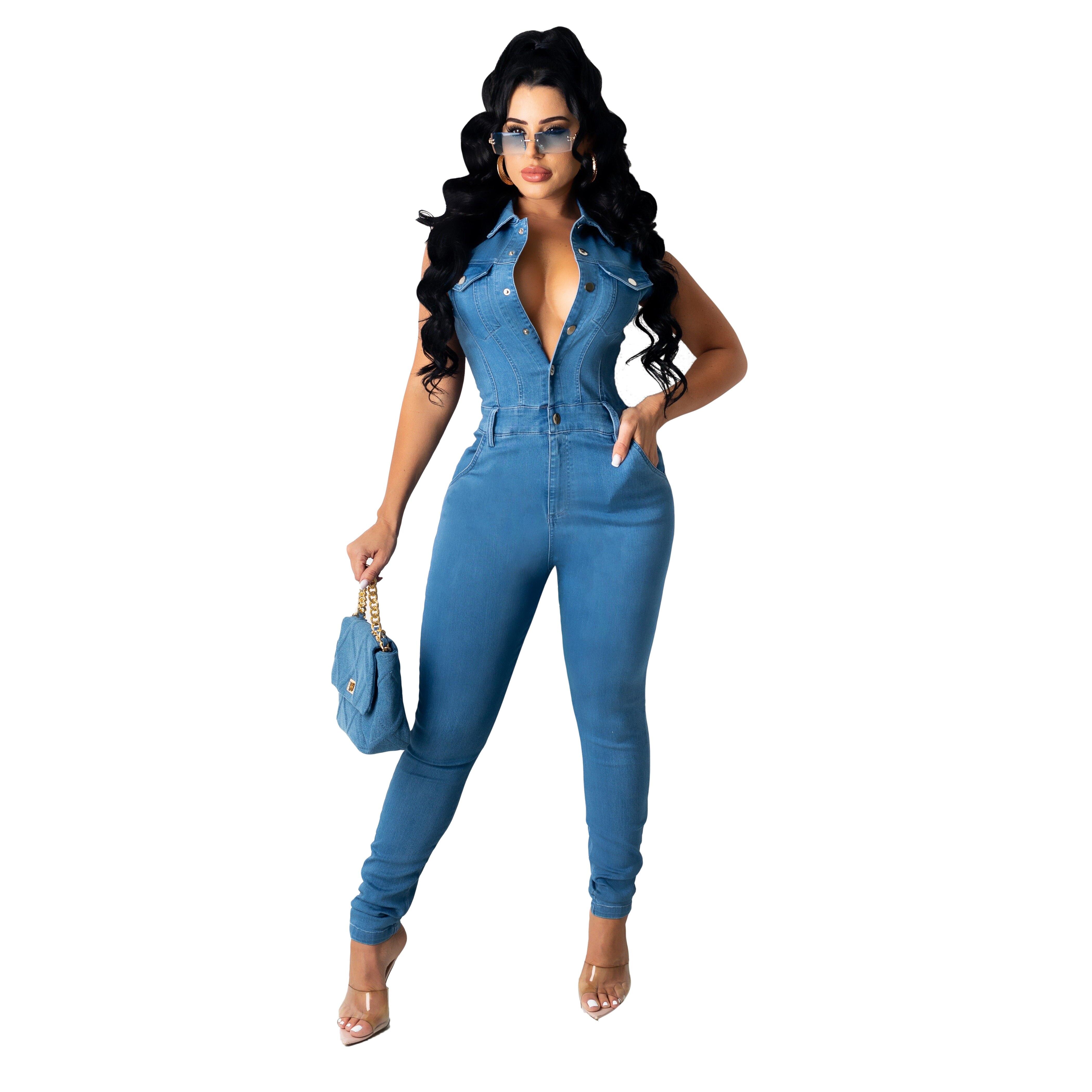 Fashion new denim slim slimming sleeveless jumpsuit jeans grunge jeans ,women pants high rise jeans women pants enlarge
