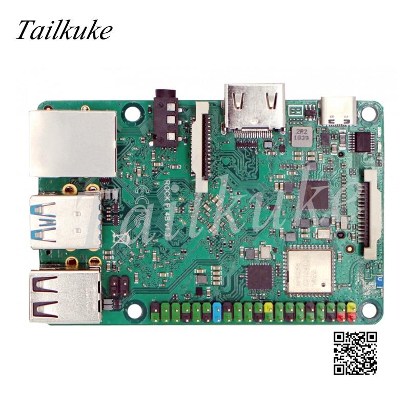 Rock Pi 4B Rockchip Rk3399 لوحة تطوير Android 9.0 ودود T4 / M4 / NEO4 / 4B