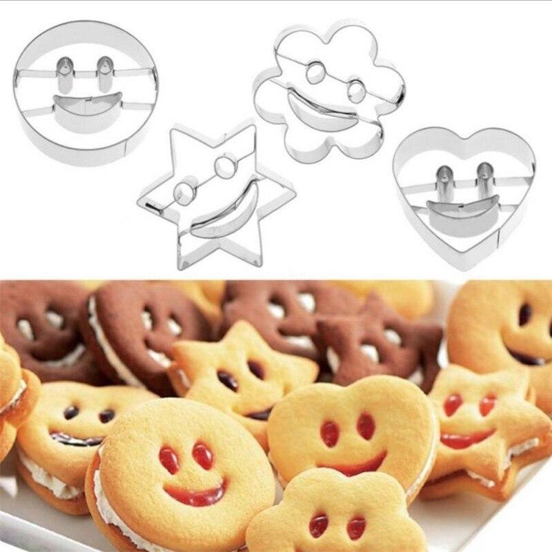 Molde de biscoito de aço inoxidável, 4 unidades, smiley, cortador, molde de fondant, bolo, ferramentas de cozimento, molde de biscoito açúcar