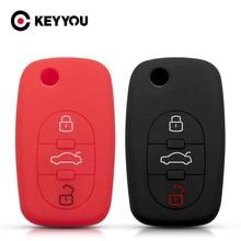 KEYYOU 3 Tasten Silizium Klapp Abdeckung Fob Remote Key Fall Shell Halter Für Audi A3 A4 A5 A6 A8 Q5 a8 TT S6 TT Protector Schlüssel Tasche