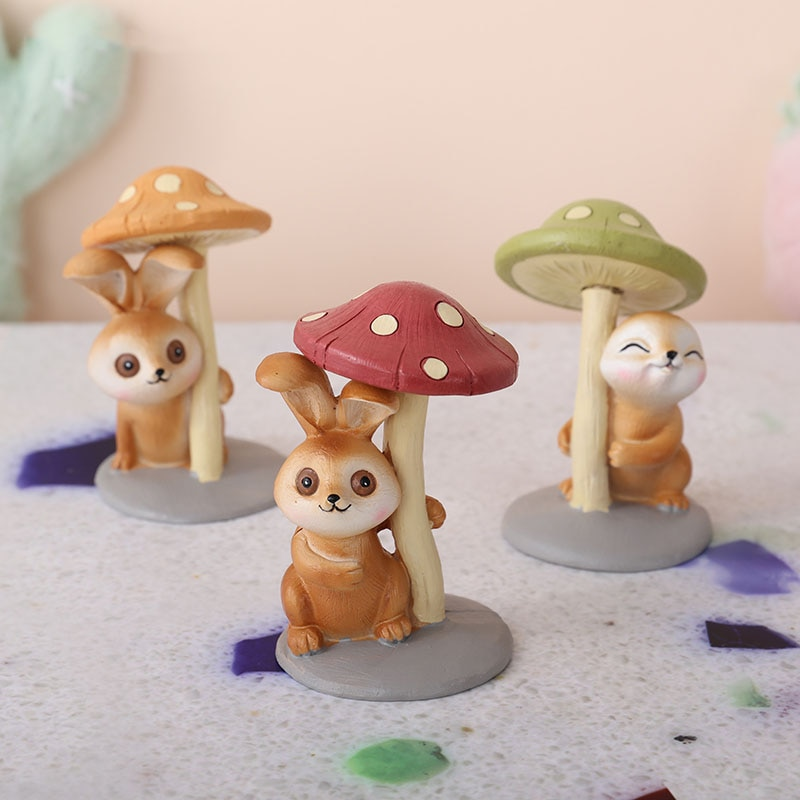 Nórdicos Ins creativo champiñones de resina conejo escultura adornos hogar Sala de Arte de la estatua de hadas jardín miniatura Decoración