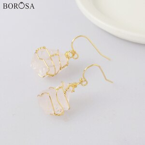 5/10Pairs New Gold Wire Wrapped White Quartz Dangle Earrings White Crystal Earrings Healing Crystal Earrings for Women WX1861