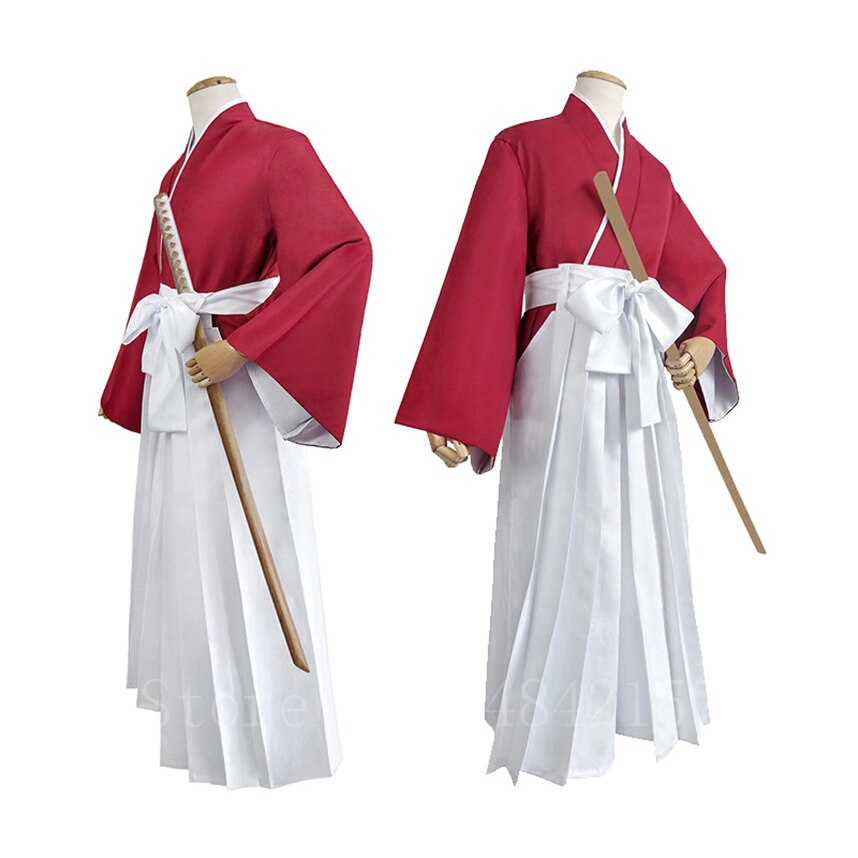 Estilo japonês anime cosplay traje himura kenshin quimono festa de halloween fantasia samurai kendo roupas definir calças superiores cinto