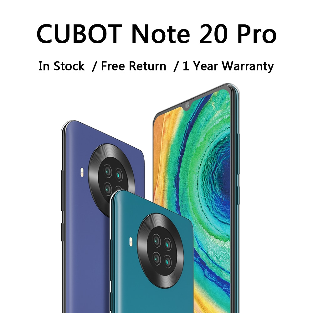 CUBOT Note 20 Pro сотовый телефон 8 + 128 сзади Quad Камера 12MP NFC Смартфон 4g 6,5 ″ HD Дисплей Android 10 телефонных 4200 ма-ч