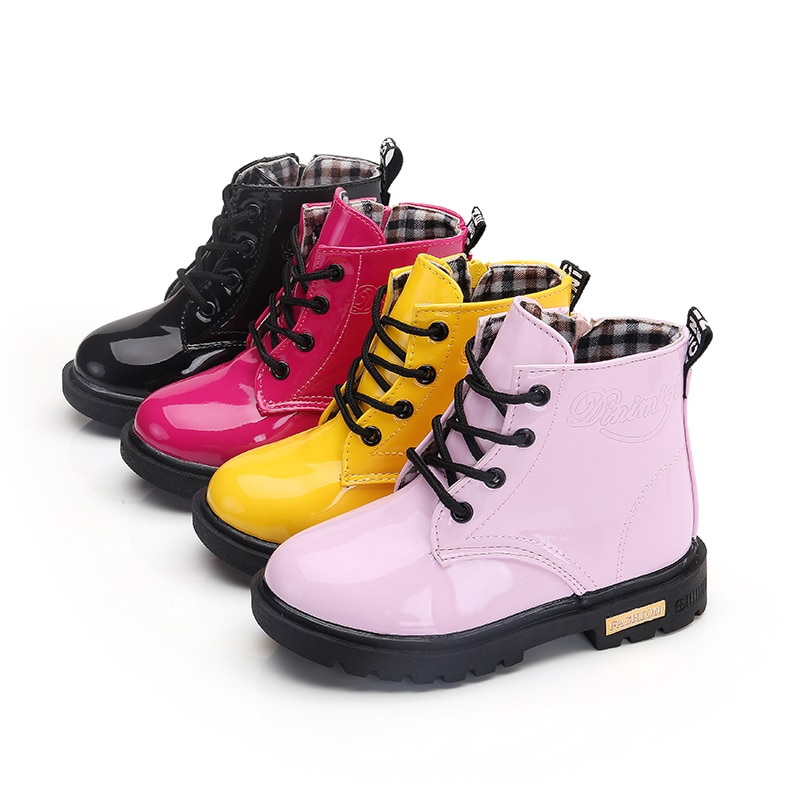 New Children Shoes Boots for Size 21-37 Martin Girl PU Leather Waterproof Winter Kids Snow Girls