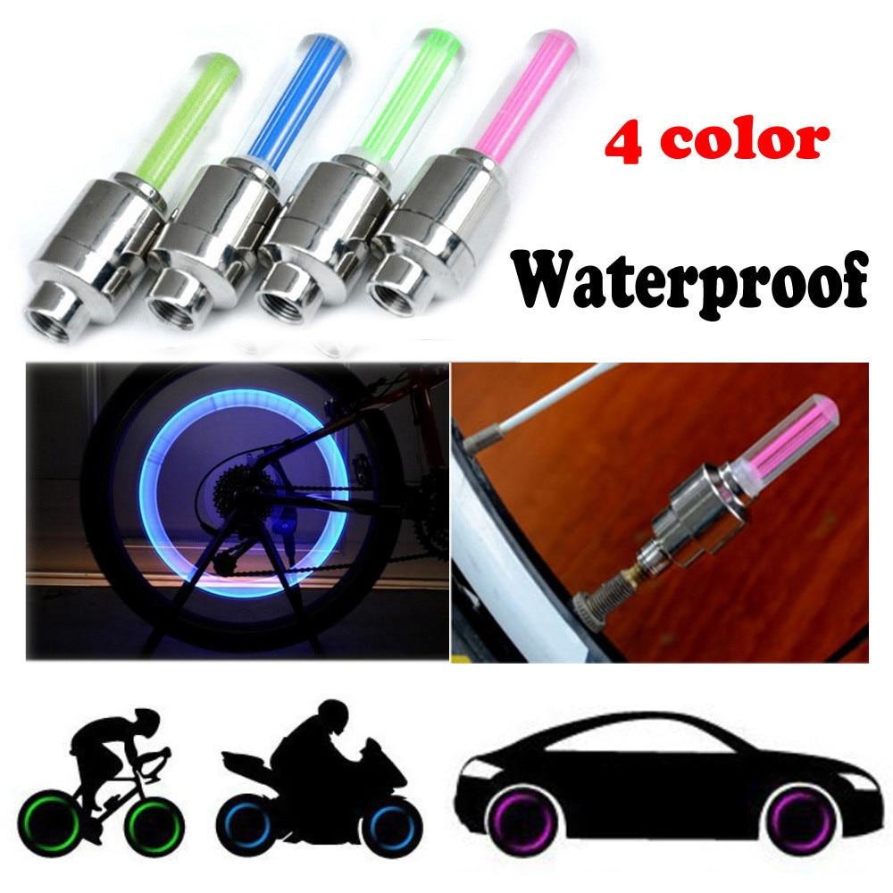 Válvula de neumático de bicicleta, 2 uds., luces para las ruedas de los neumáticos con pilas, luz LED para bicicleta de montaña, accesorios para bicicletas