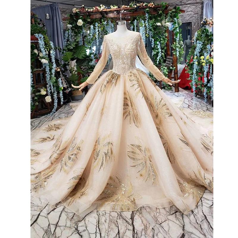 BGW 31318ht Vestido para baile De color champán Vestido De boda De talla grande O cuello De Manga Larga V espalda Vestido De Novia Manga Larga