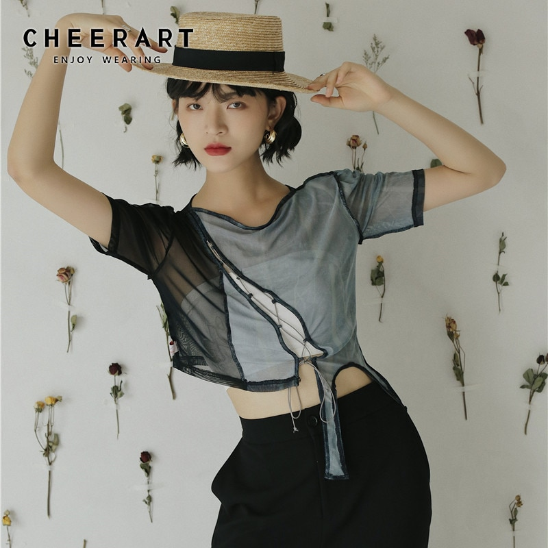 CHEERART Top corto de malla de diseñador camiseta mujer vendaje camiseta asimétrica verano Top manga corta imprimir camiseta moda 2020