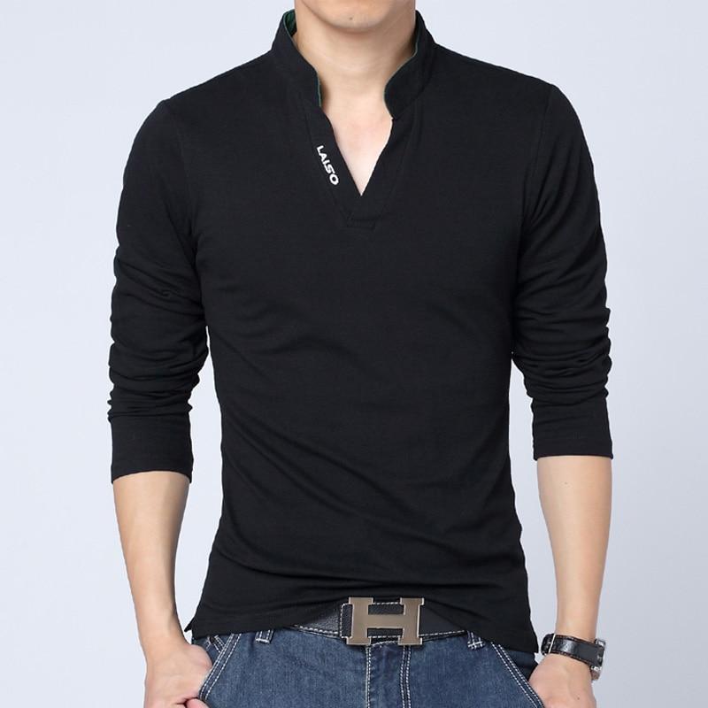 aliexpress - T-Shirt Men Casual Long Sleeve Mens Tshirts Fashion Slim Fit Cotton Brand Mens Clothing Harajuku Tshirts Men Mandarin Collar Tee