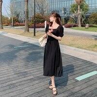 korean fashion womens long skirts square collar sweet red chiffon dress mid length temperament puff short sleeve dress banquet