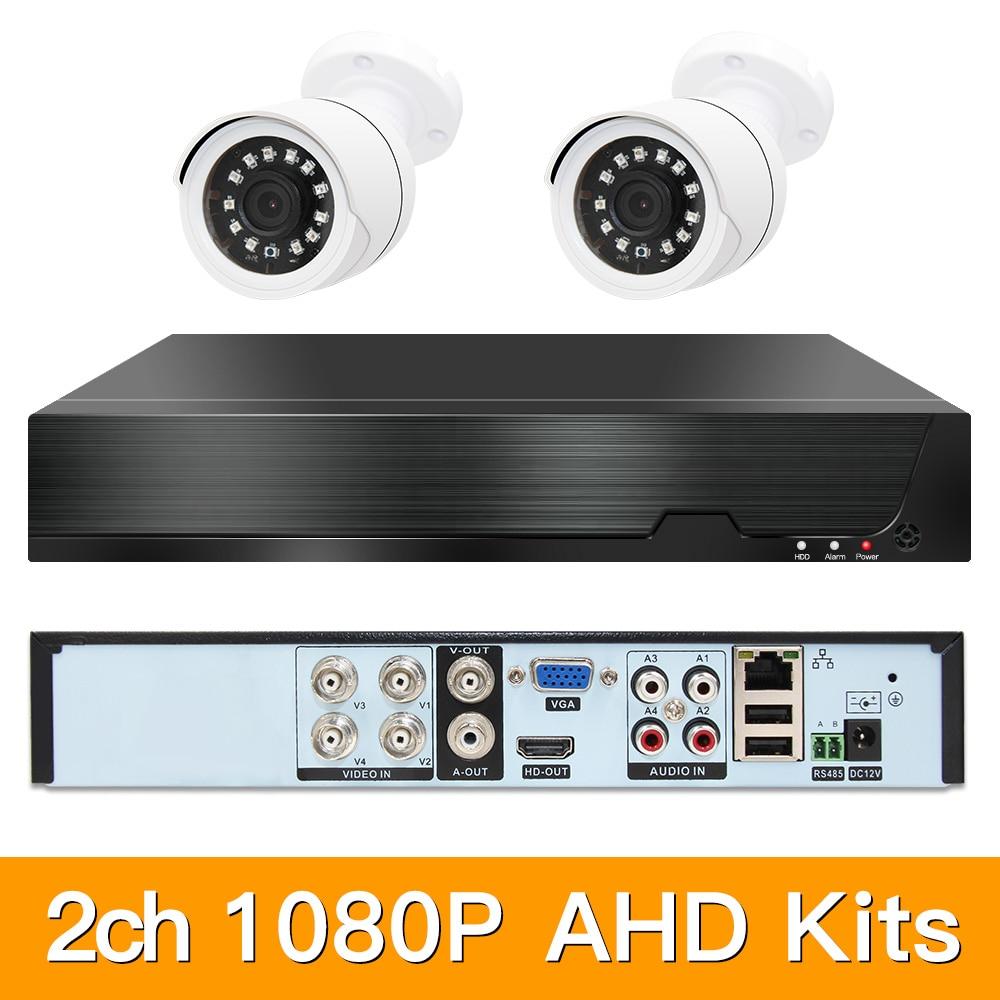 2ch 1080 p ahd kits de cctv sistema segurança cctv híbrido dvr bala ao ar livre ahd câmera vídeo vigilância p2p xmeye 2mp kits