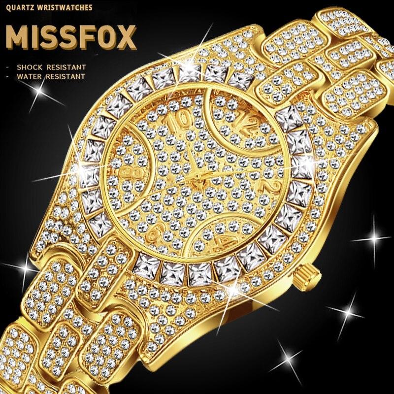 MISSFOX, reloj de cuarzo de lujo para hombre, marca de 30M, resistente al agua, reloj de cuarzo para hombre, conjunto de diamantes de imitación, reloj de horas Masculino