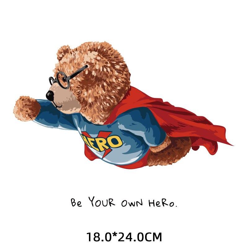 Нашивки с изображением героя медведя для детской одежды, виниловые термопереводные наклейки на мужскую одежду, футболки, куртки с аппликац...