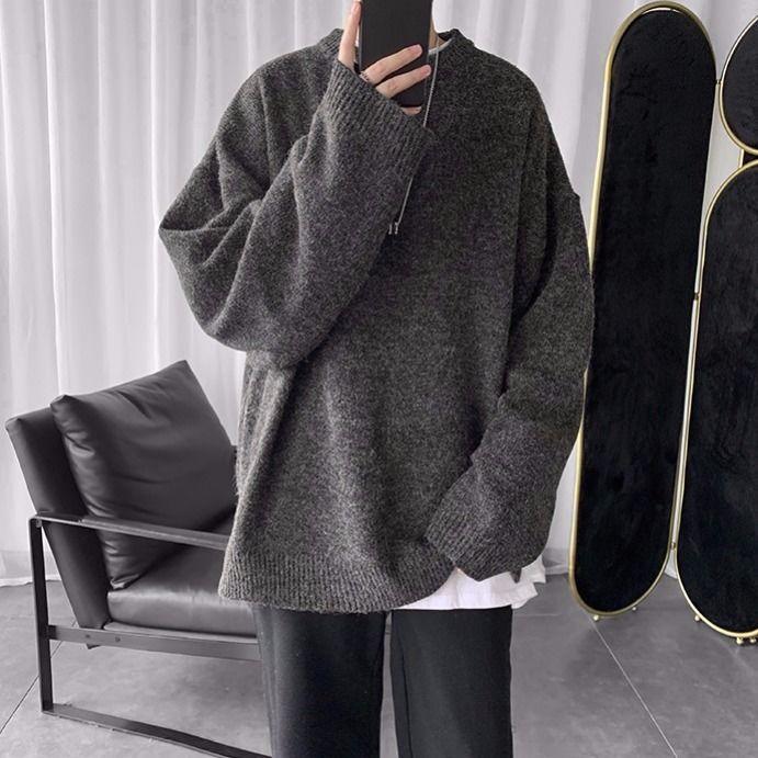 Winter 2020 Korean Version Of Joker Oversize Solid Color Crew Neck Sweater Sweater Solid Color Ins Trend Men's Sweater