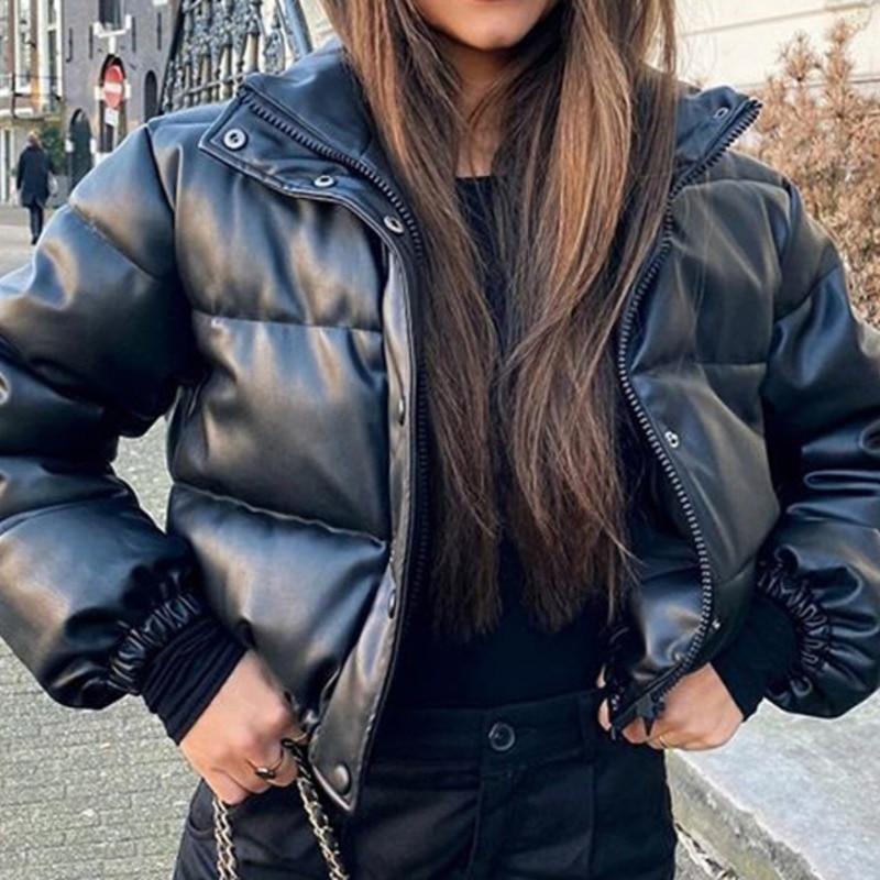 Winter Women's jacket Warm Short Parka Female Fashion Black PU Leather Coats Ladies Elegant Zipper Cotton Jackets Women