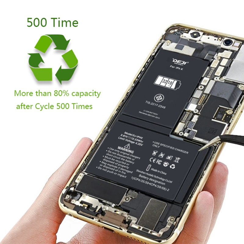 DEJI for iphone x xr xs xs max battery high capacity replacement battery for X with tool kits 3010mah 3210 3510 3710 bateria enlarge