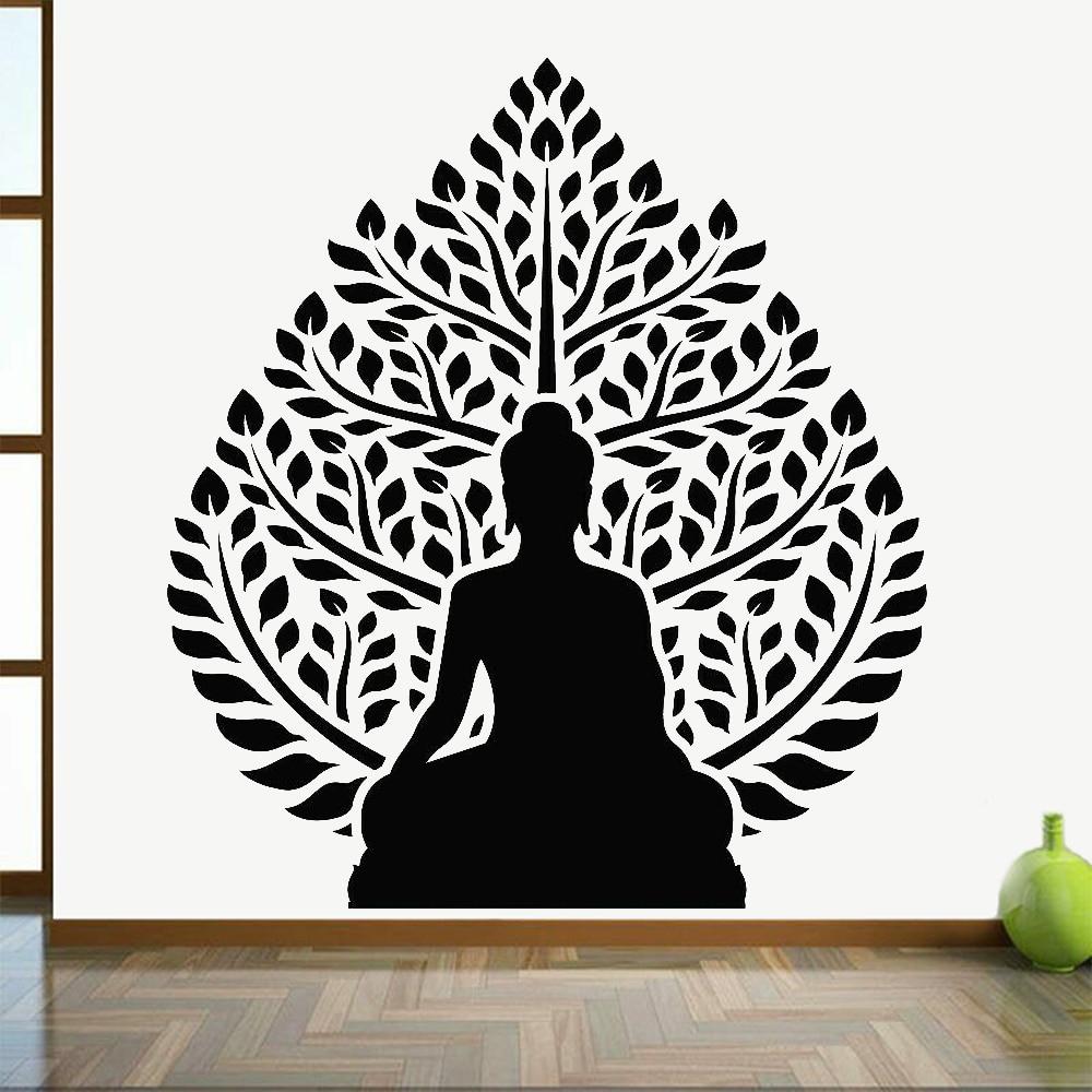 Буддистские настенные наклейки, Йога, студия, художественное украшение, классическое дзен дерево, расслабляющие настенные наклейки, медитация, комната, домашний декор Z426|Наклейки на стену| | АлиЭкспресс