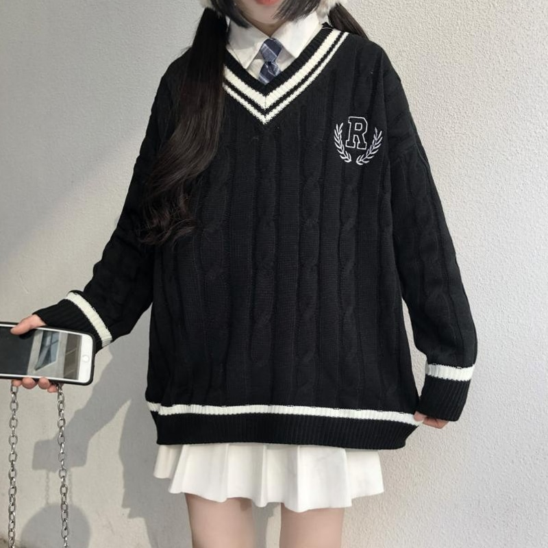 Japanese Wear Pullover Jk Sweater  Loose V-Neck Regular Long SleevesStudent Hollow Out Knitting Loose Women Pullover