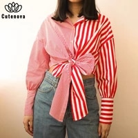 cutenove casual summer clothes for women 2021 lace up striped y2k crop top female fashion streetwears