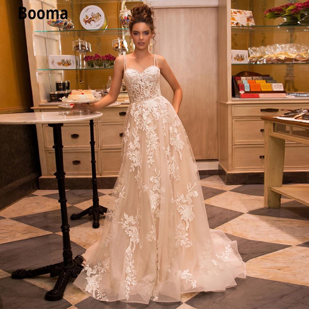 Booma champanhe vestidos de casamento boho praia 2020 elegante rendas apliques vestido de noiva tule vestido de festa de casamento do vintage mais tamanho