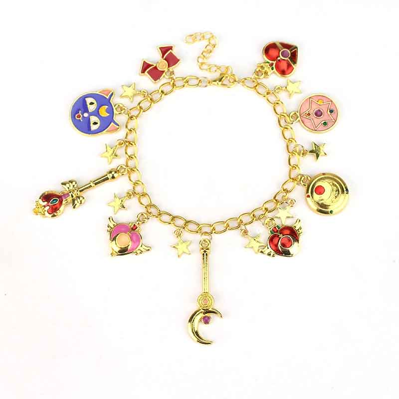 Sailor Moon Charm Bracelet Cartoon Anime Cardcaptor Sakura Flower Pearl Charm Bracelets Bangles Cosplay Gifts for Women Girl Kid